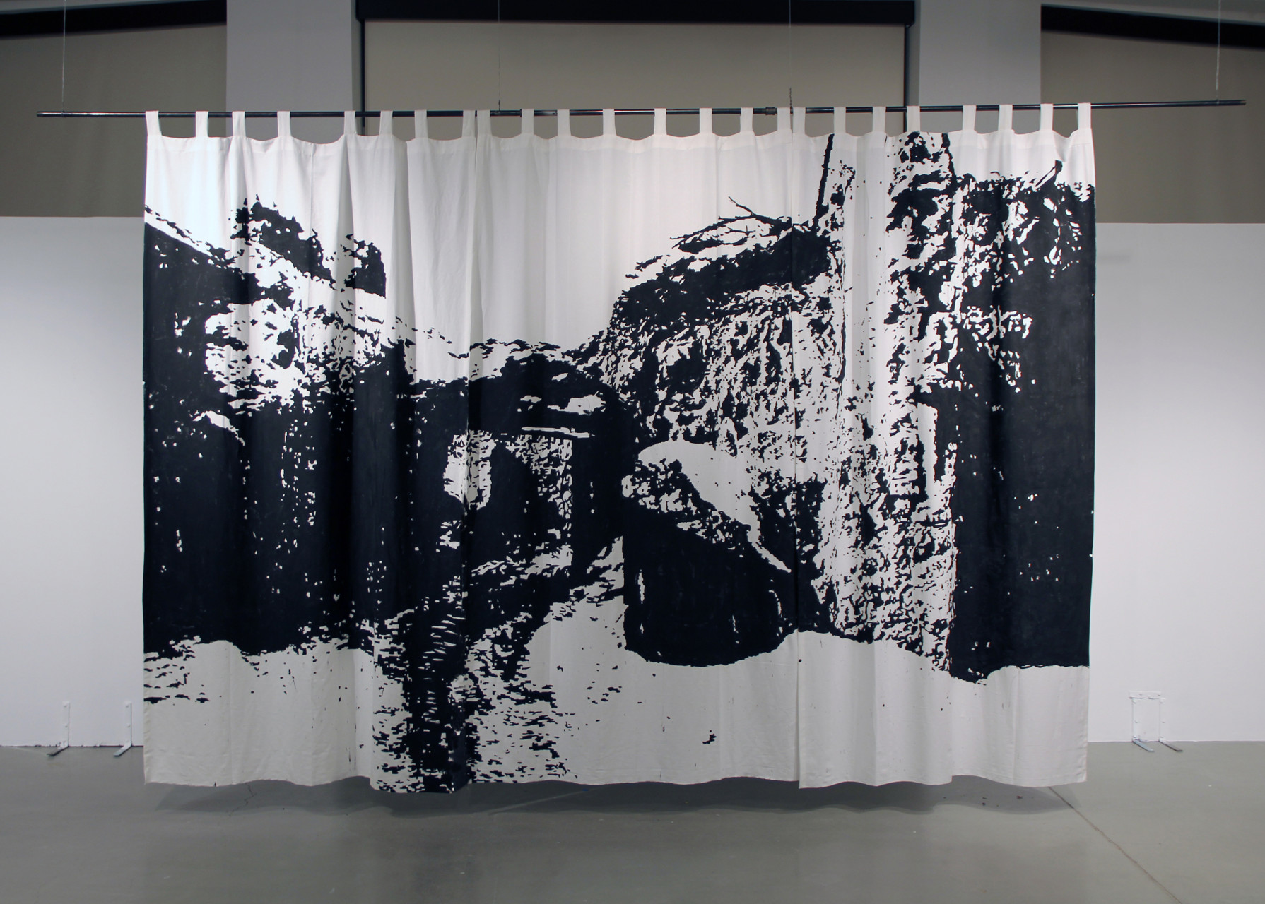 'Bagram District Compound' 2013  acrylic on cotton curtain 120 x 200 inches