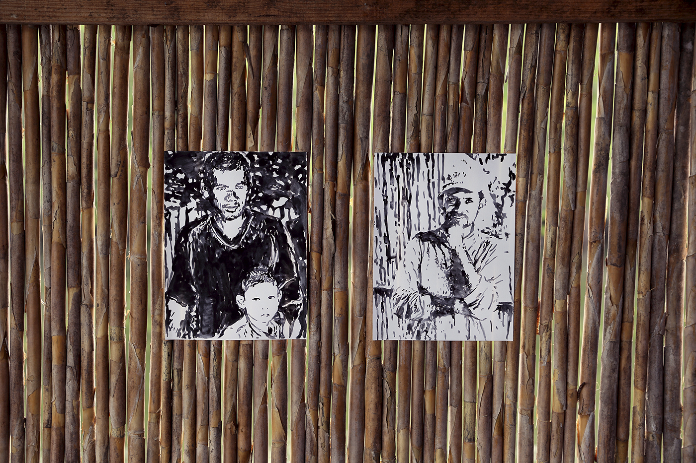 Portraits of fishermen  ink on paper 11 x 14 inches each