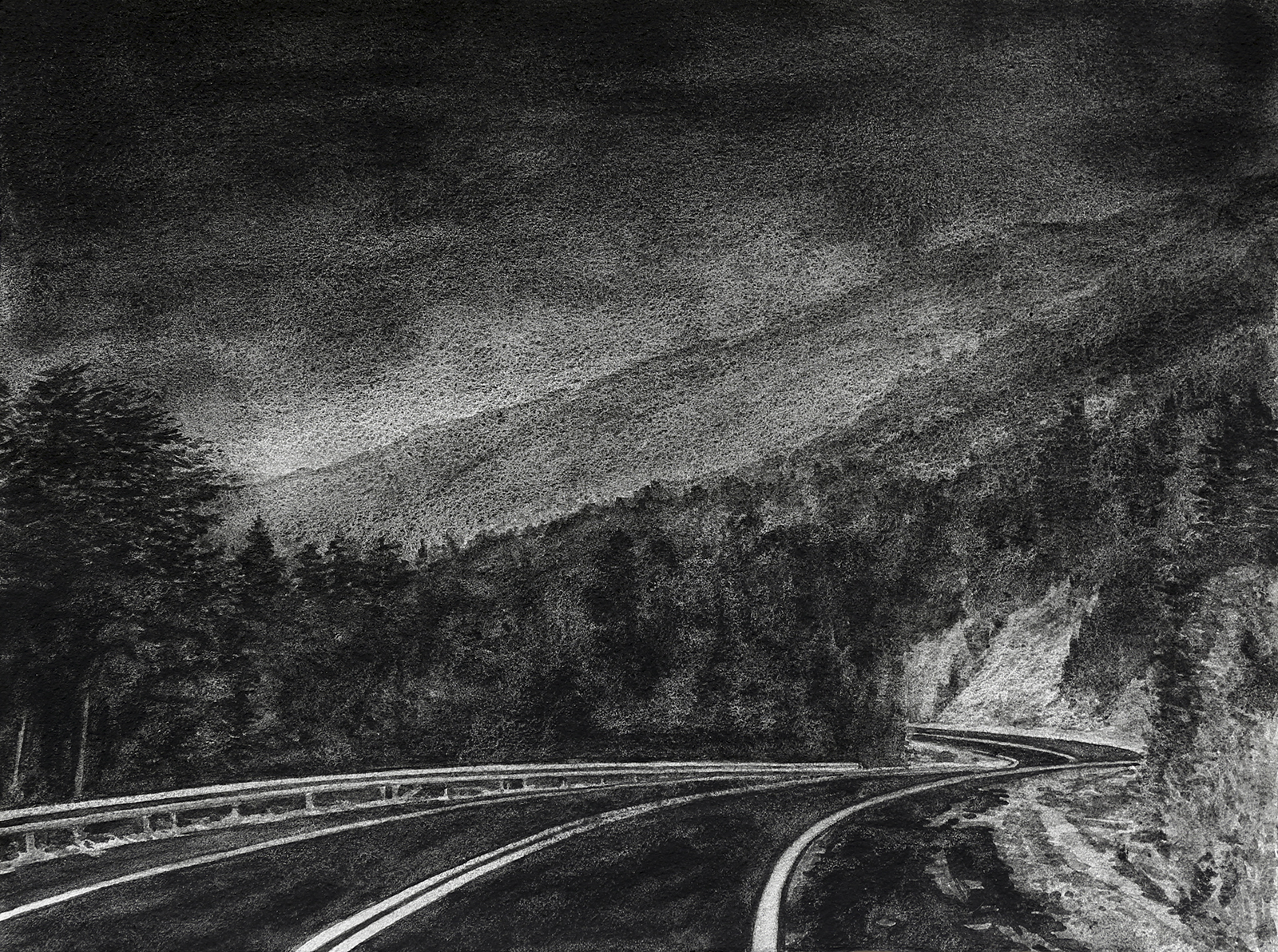 'Dark road' 2016 black ground watercolor with sand on paper 26 x 36 cm